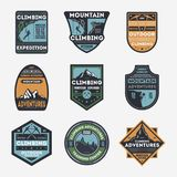 Mountain climbing vintage isolated label set. Outdoor adventure symbol, mountain explorer sign, touristic expedition badge, nature hiking and trekking logo Royalty Free Stock Image
