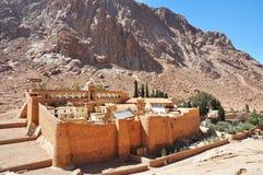 Mountain cloister landscape in the oasis desert valley. Saint Catherine`s Monastery in Sinai Peninsula. Egypt royalty free stock image