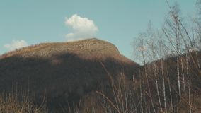 Mountain with the cloud and blue sky landscape stock footage