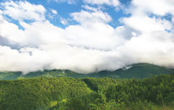 Mountain and clouds. Mountain summer landscape with white clouds on the sky Stock Photos