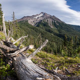 Mountain And Clouds. Blue sky approaches Mount Jefferson. Mt Jefferson Wilderness Area, Oregon Stock Photography
