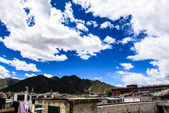 Mountain with clouds. Mountain with blue sky, tibet Royalty Free Stock Images