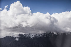 Mountain & clouds in the first time at Lah. From Air plane, on the way to Leh Ladakh Royalty Free Stock Photography