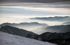 Mountain, clouds and horizons - view from Velka Fatra Royalty Free Stock Photo