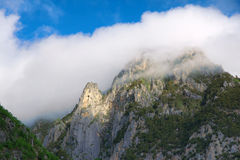 Mountain and clouds. The mountains were wreathed in clouds Royalty Free Stock Photography