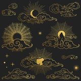 Sun and moon in the sky. Collection of decorative graphic design elements in oriental style. Vector hand drawn illustration. Mountain, clouds, stars, moon and Royalty Free Stock Photo