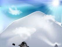 Mountain with clouds in sunny day. Mountain (Ishininca-Peru) with clouds in a sunny day illustration vector design Stock Photos