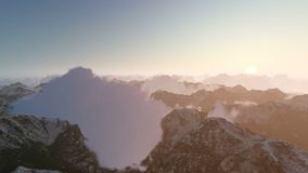 Mountain Clouds Towards Sunrise. Time lapse stock video footage