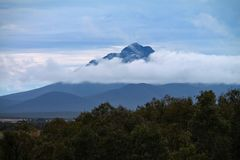 Mountain with clouds and trees in the Stirling Ranges, Western Australia. A tall, pointy mountain peak sticks out from beneath a layer of cloud in the Stirling stock image
