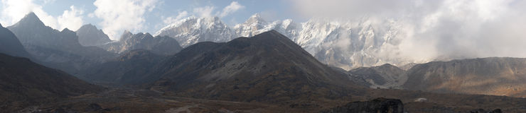 Mountain cloudscape panorama, Himalayas, Nepal Royalty Free Stock Photos