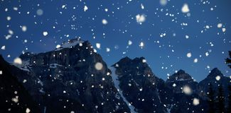 Mountain coated of snow in the night Royalty Free Stock Images