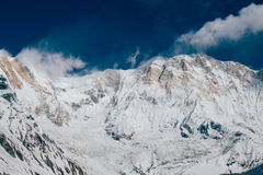 Mountain Coated With Snow Under the Blue and White Royalty Free Stock Photography