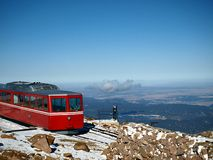 Mountain Cog Wheel Train. The cog wheel train that goes up Pikes Peak with a scenic mountain view royalty free stock photo