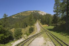 Mountain and cogwheel railway Royalty Free Stock Photography