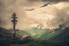 Mountain col de la core nuageuse photo stock