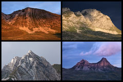 Mountain collage National Park Durmitor. Composition made up of mountain motifs at sunset Stock Photos