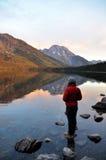 Mountain Colorful Reflection Sunrise Stock Photo
