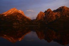 Mountain Colorful Reflection Sunrise Stock Photography