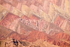 The mountain of the 14 colours. The Hornocal, the mountain of the 14 colours in the north west of Argentina. Humahuaca village royalty free stock photos