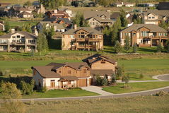 Mountain community. Colorado homes on a golf course Stock Image