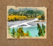 Mountain Confluence of rivers,  trees in golden dress. Russian a. Utumn watercolor landscape on paper with a torn edge in the passepartout Royalty Free Stock Photo