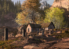 Mountain Cottage And Gate Landscape. A fall scene of a cottage in the rocky mountains with fence and old metal gate royalty free illustration