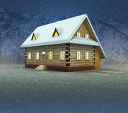 Mountain cottage and window shiny light at night snowfall Stock Photo