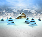 Mountain cottage in winter landscape with high mountain landscape Royalty Free Stock Photos