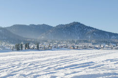 Mountain countryside in winter Royalty Free Stock Image