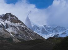 Mountain covered with clouds in Patagonia. royalty free stock images