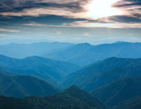 Mountain covered green trees in background of sunny sky Stock Photography