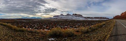Show hill near road in Arizona USA. Mountain covered with show near road in Arizona USA Stock Image