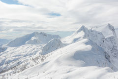 Mountain covered in snow with visible tree line. And interesting clouds Stock Photo