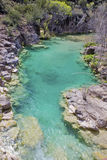 Mountain creek in Arizona. Aqua colored waters of spring fed creek in Arizona stock image