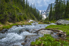 Mountain creek with Notchtop Peak in the Background Stock Image