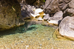Mountain creek through Samaria gorge, island of Crete Royalty Free Stock Image