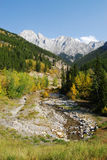 Mountain creek and valley Stock Photo