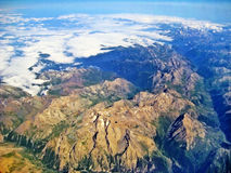Mountain crest in the alps - aerial view. Mountain crest - aerial view - somewhere above the alps border region of france / switzerland Stock Photo