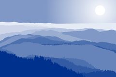 Mountain crests. Illustration of blue mountain crests Stock Photo