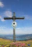 Mountain cross and alpine landscape, germany Royalty Free Stock Image