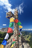 Mountain cross with flags Royalty Free Stock Photo