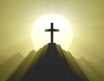 Mountain cross holy light halo Royalty Free Stock Photo