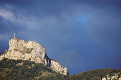 Mountain and cross of Nivolet near Chambery, France Stock Image