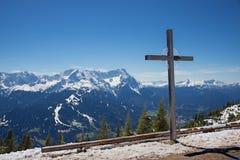 Mountain cross on wank, garmisch area, upper bavaria Royalty Free Stock Photo