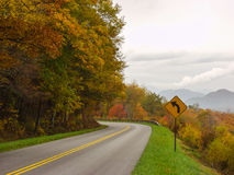 A Mountain Curve on a Road Stock Images