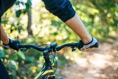 Free Mountain  Cyclists Grasp The Bike Handle, Focus On Gloves Stock Images - 168004494