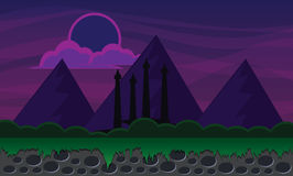 Mountain 2d background in the night. Illustration design Stock Photography