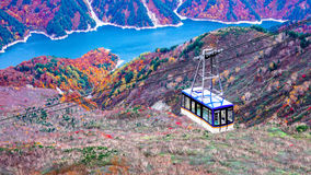 Mountain and daikanbo ropeway in Japan Alpine route. Toyama Japan Royalty Free Stock Image