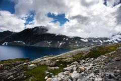 Mountain Dalsnibba landscape in Geiranger, Norway Royalty Free Stock Photography
