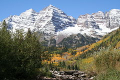 Mountain dam. Beaven dam in front of mountain in the maroon bells Royalty Free Stock Photography